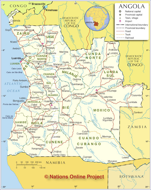Angola - Geographische Karten Angola