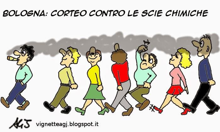 Scie chimiche, bologna, umorismo, satira, vignetta