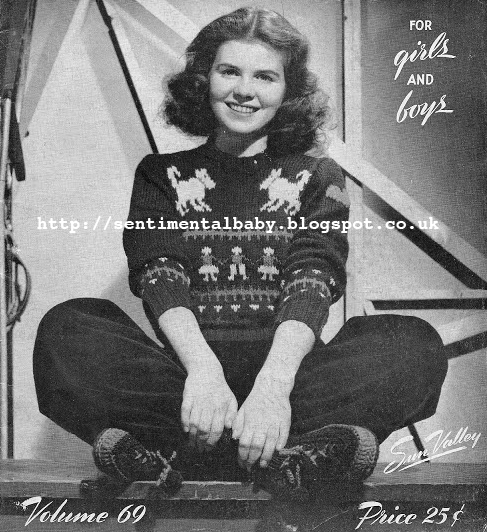 Free Pattern 1940's Knitting - Fair Isle Ski Sweater