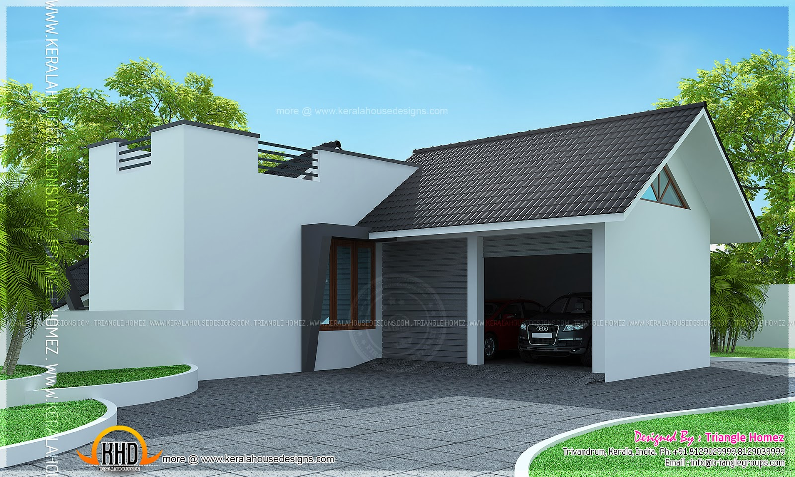 Two faced modern estate bungalow kerala home design and floor plans