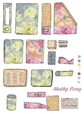 office supplies, stationary, mockup, peony, floral, floral repeat, shabby chic, pink, blue, intray, binder, journal, pencil case