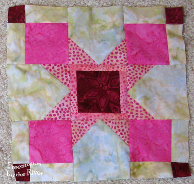 Magic Star Block for Aurifil in pinks at Freemotion by the River