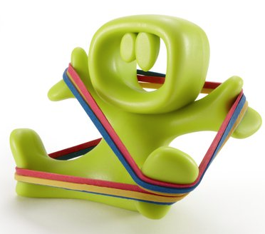 rubber band holder shaped like seated person