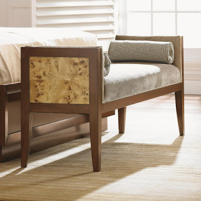 stylish wood and neutral fabric bench with panel detail