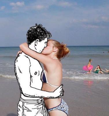 Mujer en bikini en la playa besando a caricatura.