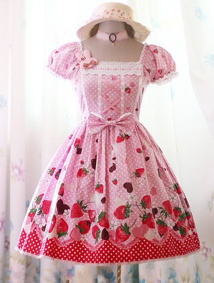 Sweet Pink Strawberry Polka Dot Rococo Lolita Dress