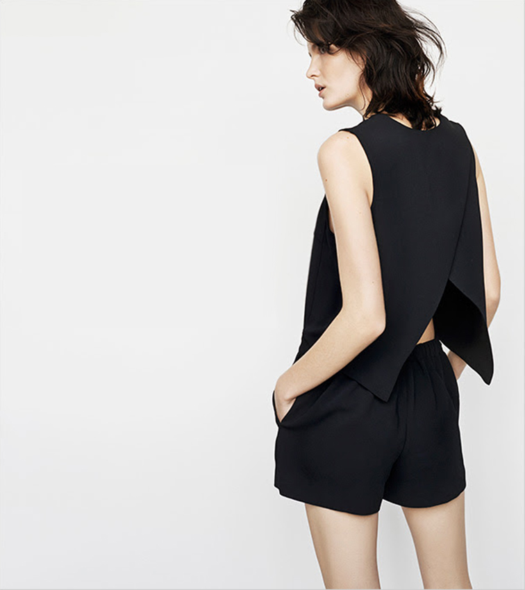 Club Monaco black open back romper