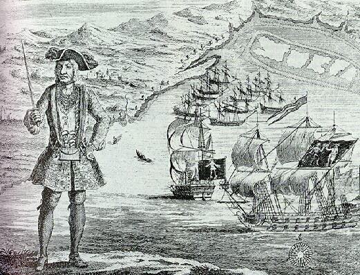 Bartholomew Roberts with his ship and captured merchant ships in the background from A History of the Pyrates, Captain Charles Johnson 1724