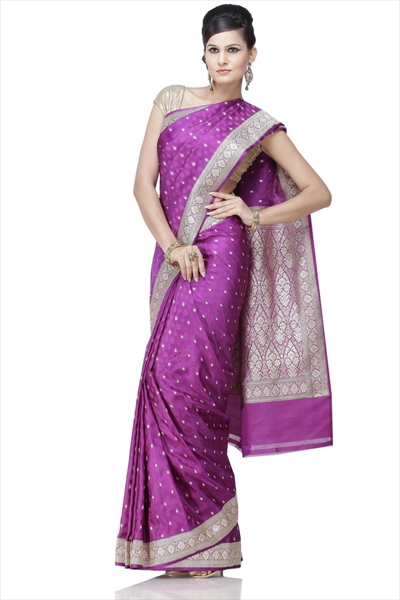 Imperial Purple Satin Banarasi Saree