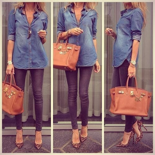 Blue Jeans Shirt with Grey Beautiful Jeans, Brown Handbag, Accessories and Leopard High-Heeled Shoes, Street Style