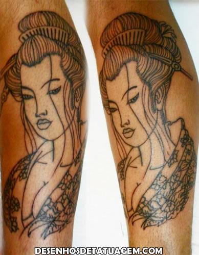 Tattoo de Gueixa sem cor