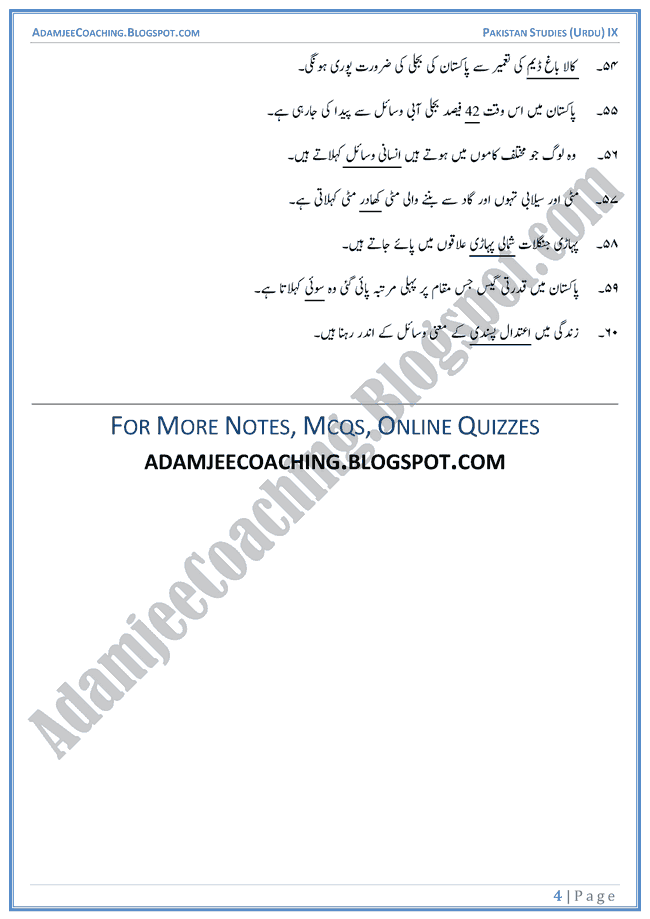 Resources-of-Pakistan-Fill-In-The-Blanks-Pakistan-Studies-Urdu-IX