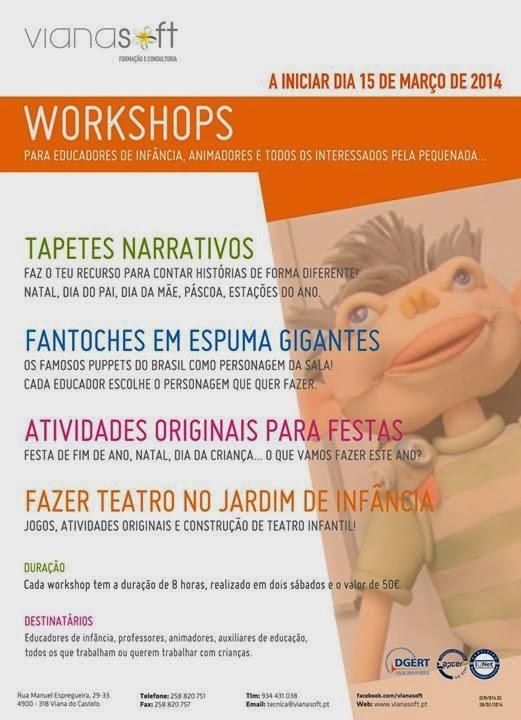 Workshops em Viana do Castelo 2014 (para pessoas que trabalham ou querem trabalhar com crianças)