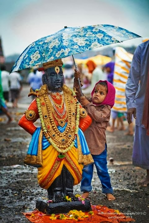 Cute Indian Kid With Umbrella