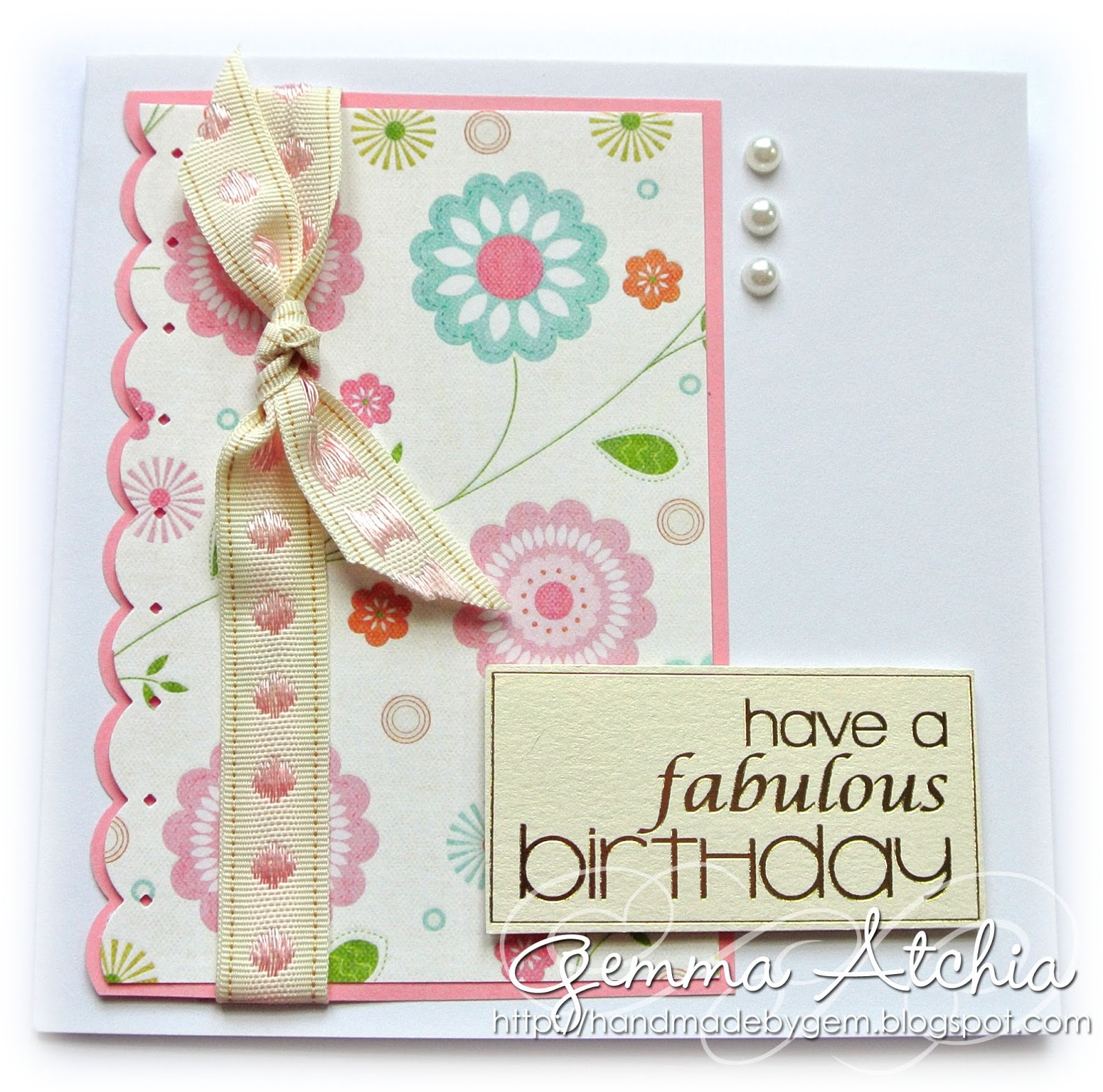 Birthday, scallops, card, pearls, ribbon, pastels, Clean and simple, CAS