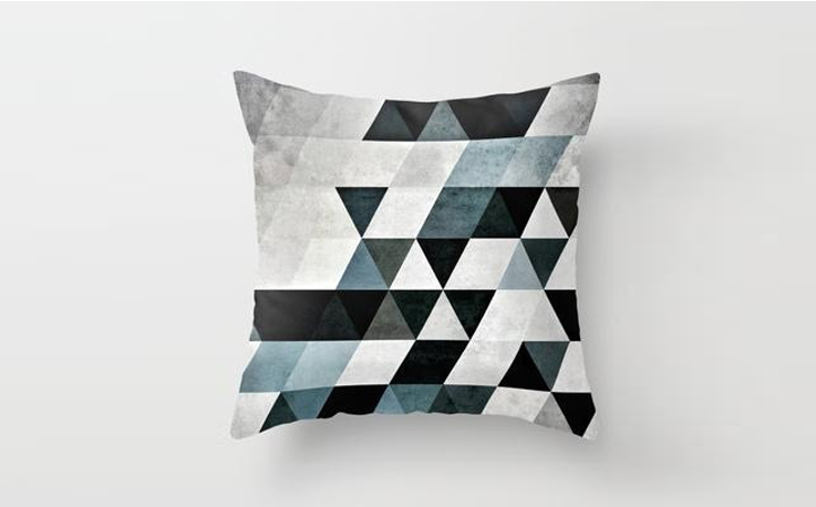 cushion with triangles