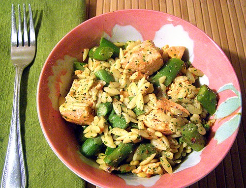 Bowl of Salmon and Asparagus with Orzo