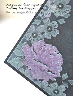 Close up of chalkboard technique using Stippled Blossoms from Stampin' Up
