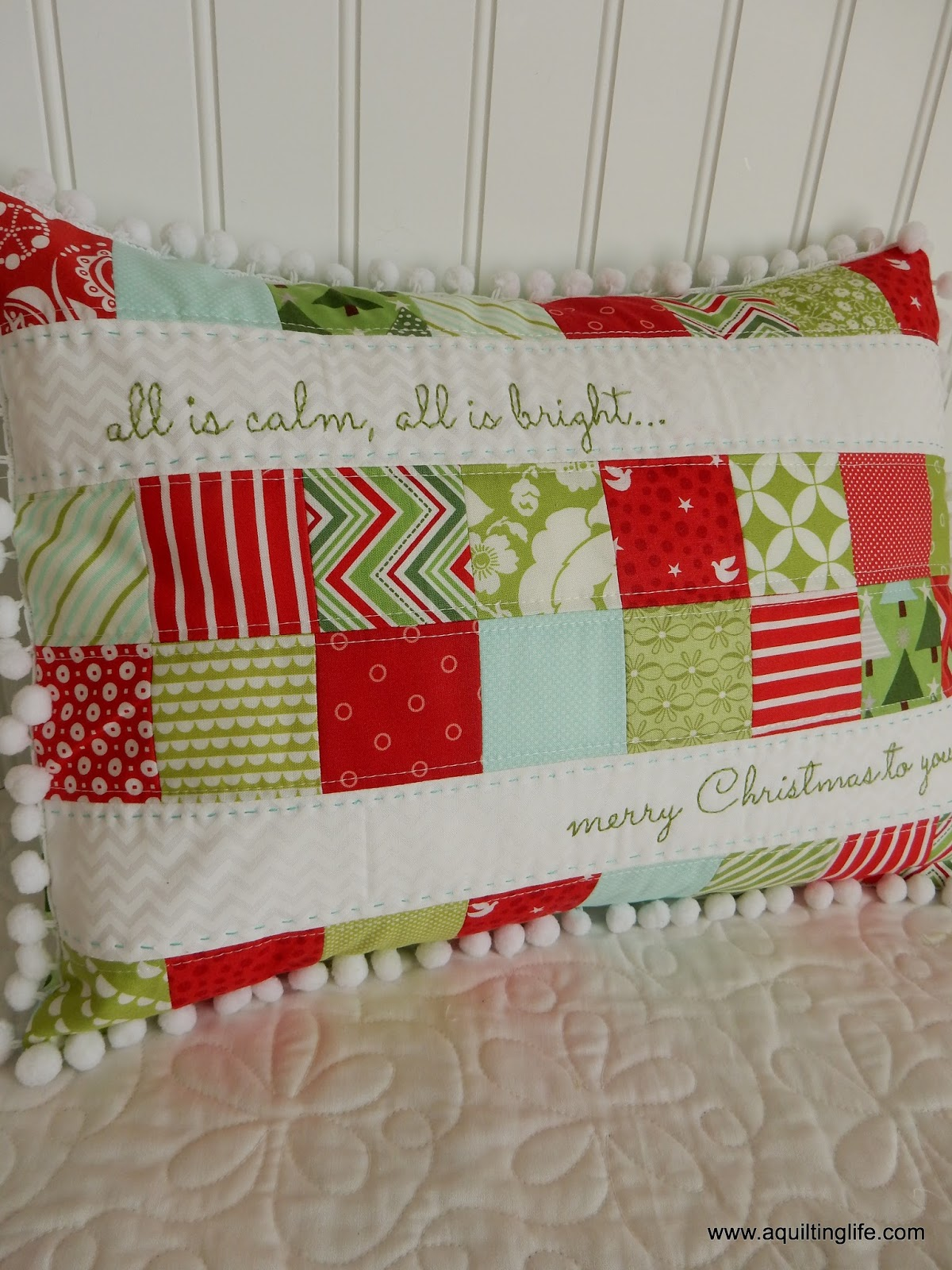 Then just recently Amy of Nana Company (the designer) published her pattern as a free PDF...I knew I had to make it...for this Christmas! & Merry Christmas Patchwork Pillow | A Quilting Life - a quilt blog pillowsntoast.com
