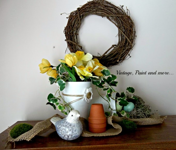 Spring Vignette - burlap ribbon, yellow tulips, faux bird nest