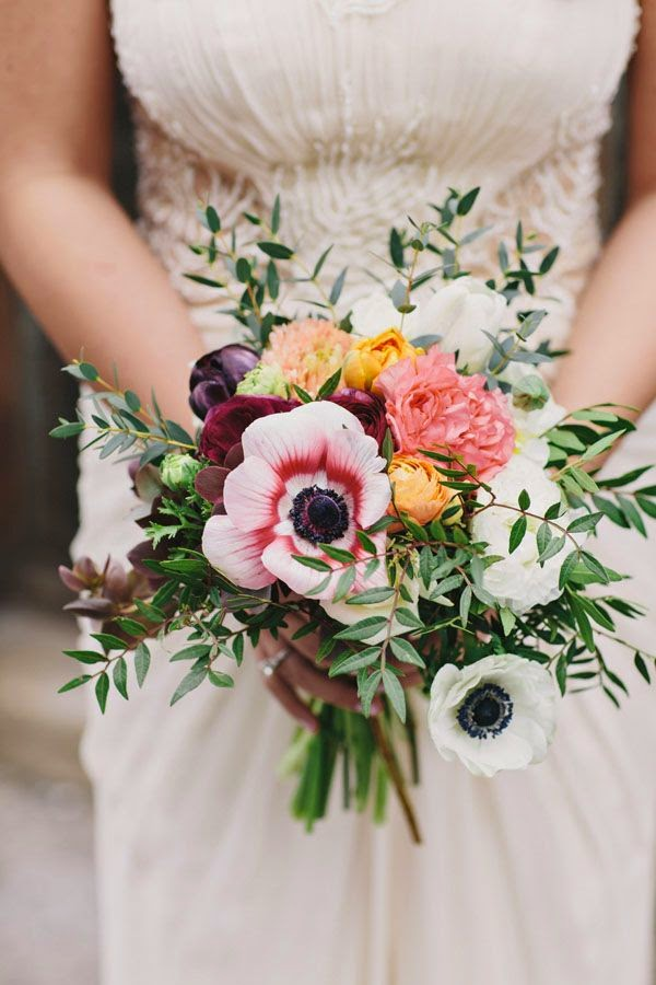 White Wedding Flowers July : Beautiful bridal romantic anemone bouquets
