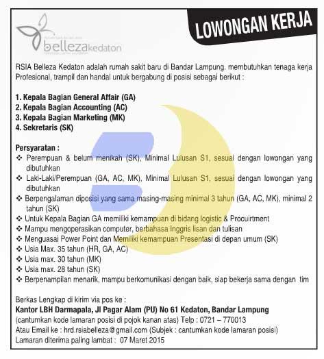 Lowongan Kerja RSIA Belleza Kedaton Lampung, Jumat 27 Februari 2015