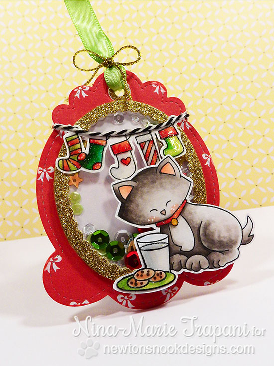 Christmas Kitty tag by Nina-Marie Trapani | Holiday stamps by Newton's Nook Designs #newtonsnook #tag