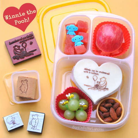 Food Colouring Markers + Rubber Stamps = Fun Winnie the Pooh lunch with Food Stamps!