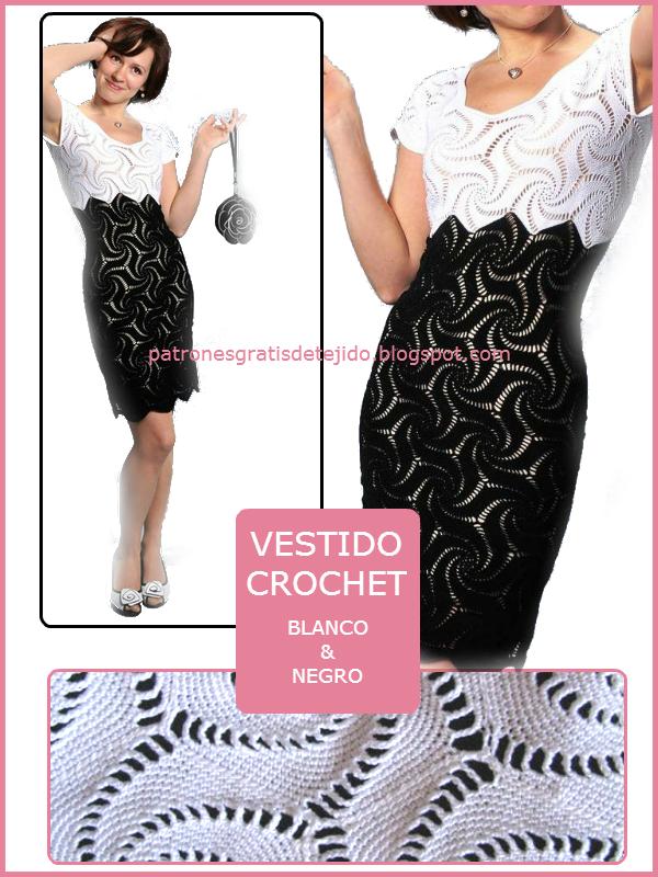 Vestido blanco y negro tejido con ganchillo con hermoso diseño