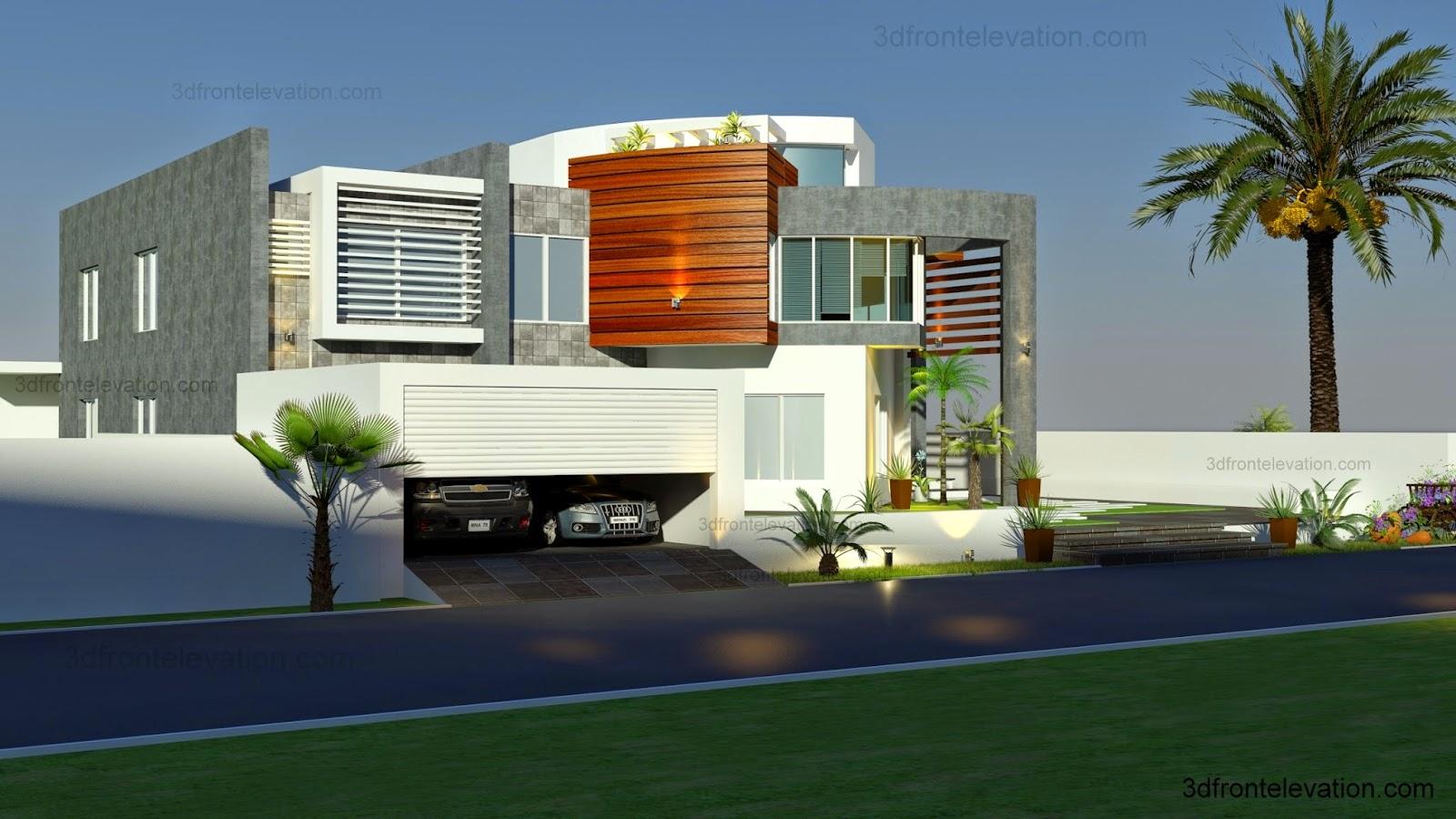 Modern Villa Front Elevation : D front elevation oman modern contemporary villa