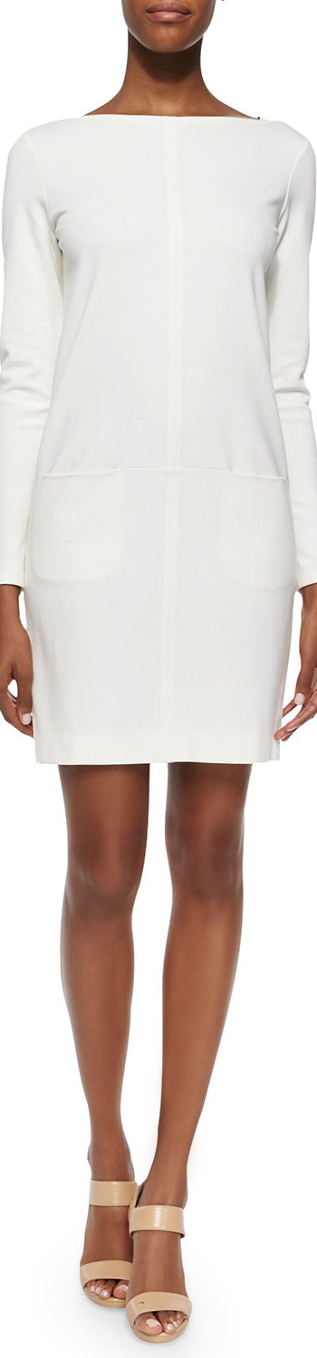 Ralph Lauren Black Label Long-Sleeve Front-Pocket Dress natural white