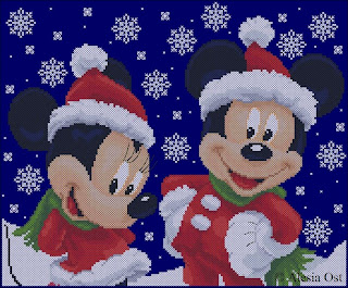 Free cross-stitch patterns, Christmas, cartoon, Disney, Mickey Mouse, Minnie, animal, mouse, winter, snowflake, cross-stitch, back stitch, cross-stitch scheme, free pattern, x-stitchmagic.blogspot.it, вышивка крестиком, бесплатная схема, punto croce, schemi punto croce gratis, DMC, blocks, symbols