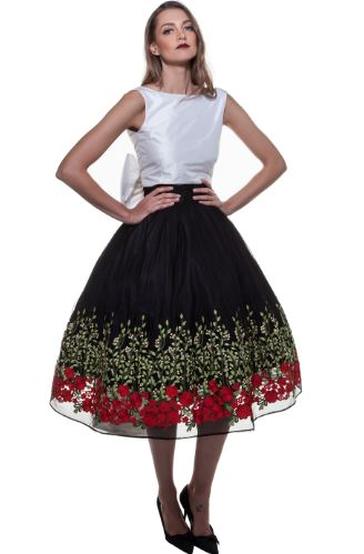 Black Rose Garden Skirt