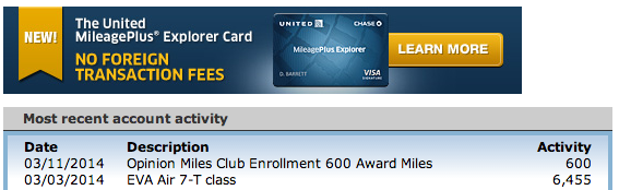 Green Espirit: Opinion Miles Club: 300 or 600 Bonus United Miles without your Credit Card