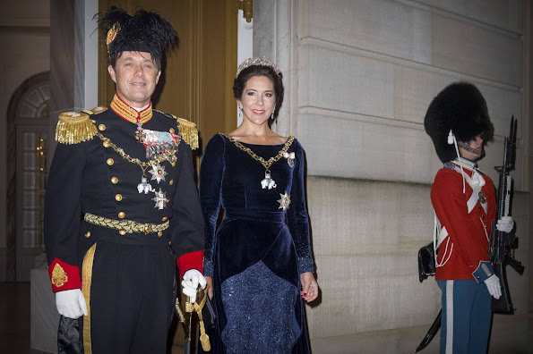 Crown Prince Frederik and Crown Princess Mary of Denmark arrive at Amalienborg palace for the new year reception in Copenhagen