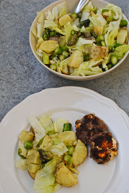 recept, potatis, sallad, sparris, fetaost biffar