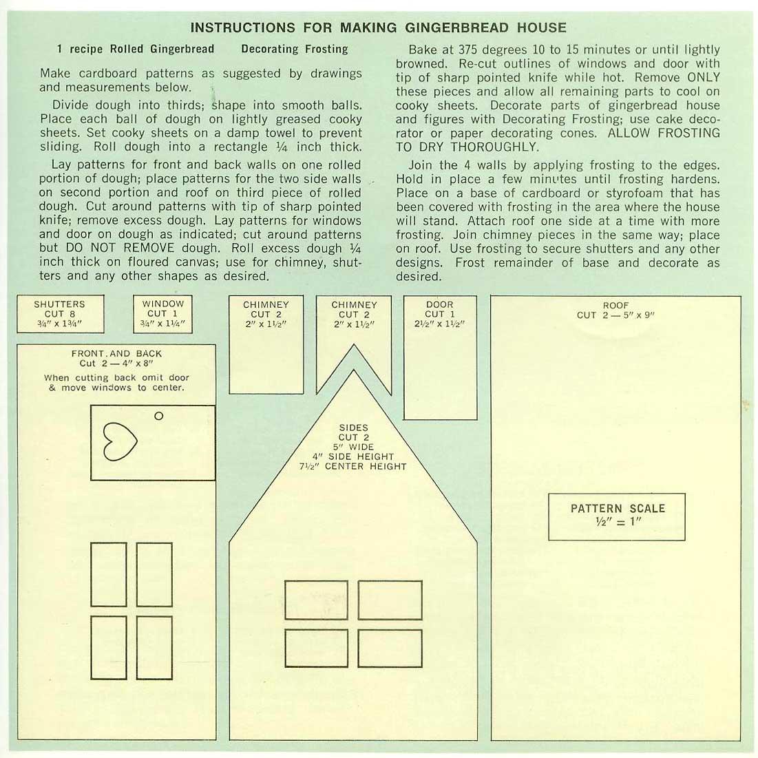 Gingerbread House Recipe & Pattern