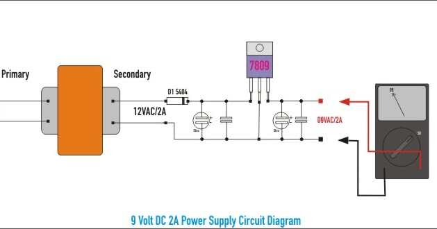 Schematic  9 Volt Dc 2a Power Supply Wiring Diagram Schematic