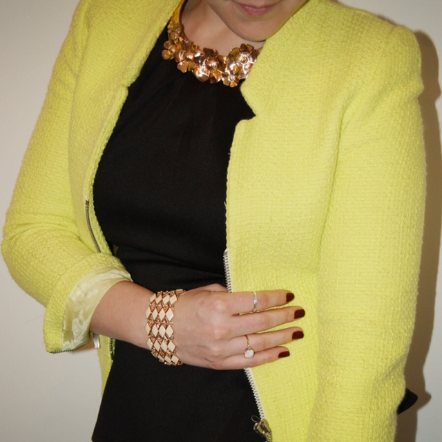 Peplum top with a neon yellow Zara jacket