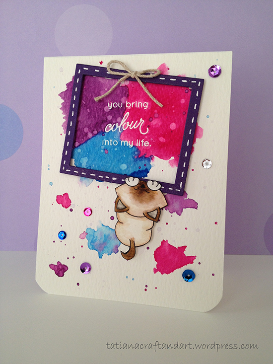 Siame Cat Card with frame by Tatiana | Newton's Antics Stamps by Newton's Nook Designs #newtonsnook