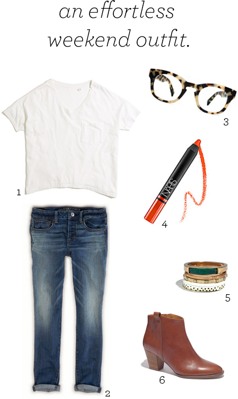 skargorn tee, american eagle boy jeans, warby parker kimball, nars satin lip pencil, madewell rings, madewell billie boot