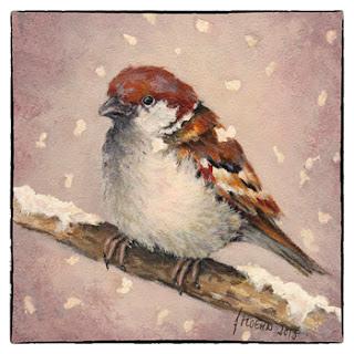 bijzondere kerstkaart schilderij winter mus  in de sneeuw Atelier for Hope Doetinchem
