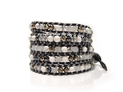 DIY Bracelet: Grey Mix 5 Wrap On Sippa Leather Pyrite Hematite White Jade Quartz Howlite