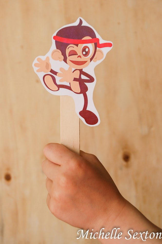 Free Printable Monkey Puppets - get this one and more at SoHeresMyLife.com
