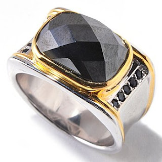 Hematite Sapphire Ring for Men