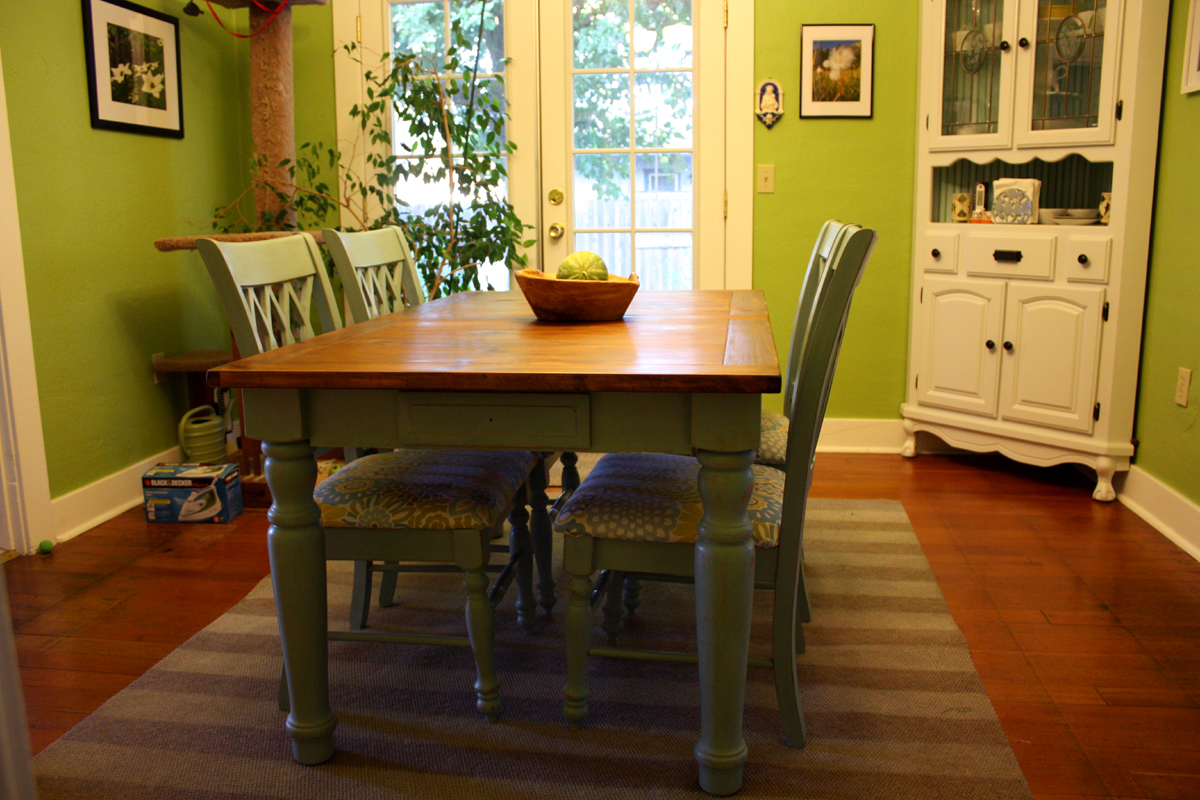 A Blue Farmhouse Dining Table