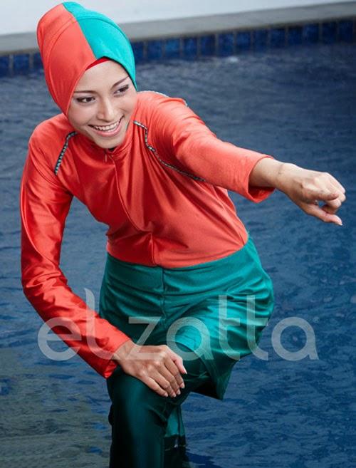 baju-renang-muslimah-elzatta-hijau toska-dan-merah