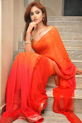 Sony Charista Glamorous in Saffron saree-thumbnail-16