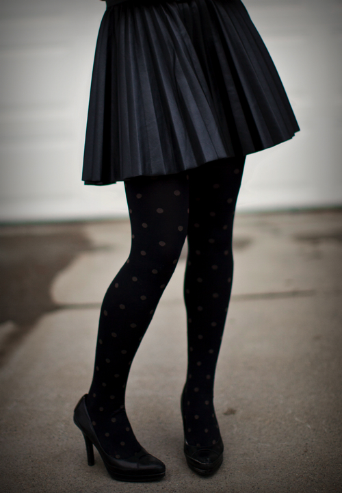 hello framboise dots dots and a pleated leather skirt