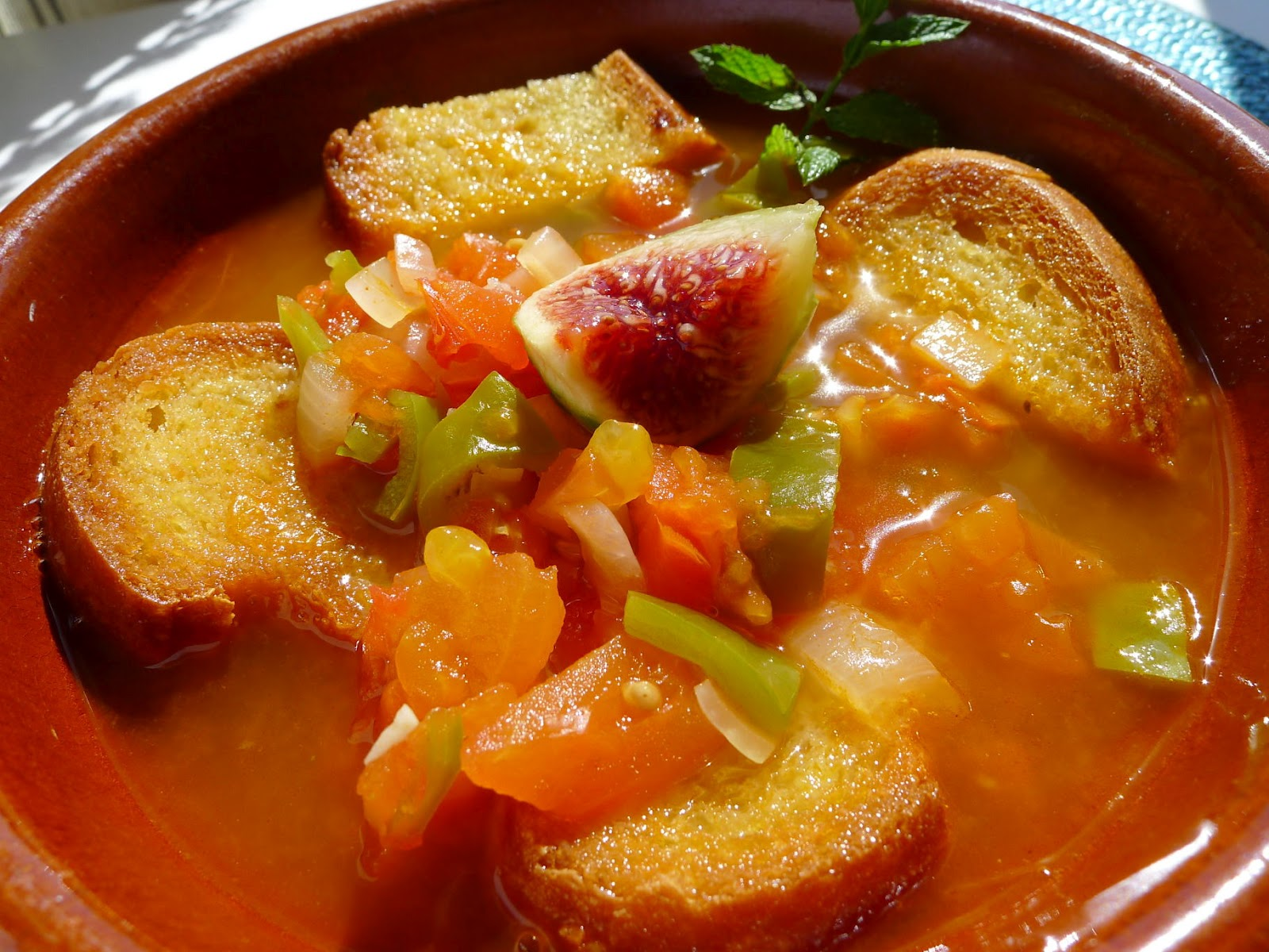 Hot gazpacho, a cooked version, served in a cazuela.